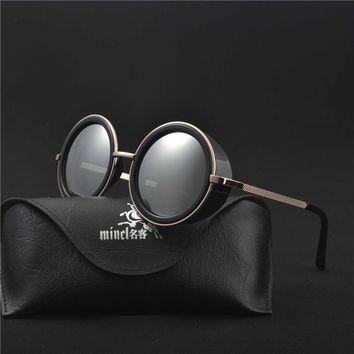 MINCL/Steampunk Sunglasses Men Women Steampunk Glasses 2018 Small Round Gradient Mirror Round Glasses With Case LXL