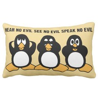 Three Wise Penguins Design Pillow