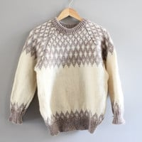 Scotland hand knitted natural cream pure wool thick knit minimalist Nordic Norwegian slouchy unisex sweater small medium