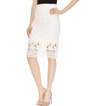 Aqua Womens Lace Below Knee Pencil Skirt