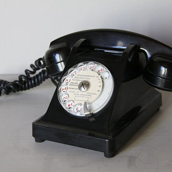Beautiful French Vintage Black Rotary Telephone Bakelite Ericsson Model Paris Apartment Mother in Law Listener