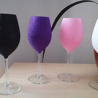 Set of 4 Glitter Large Wine Glasses