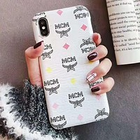 MCM Hot Sale Stylish Mobile Phone Cover Case For iphone 6 6s 6plus 6s-plus 7 7plus 8 8plus X XsMax XR White