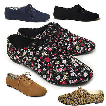 NEW Womens Lace Up Casual Canvas Flat Heel Oxford Shoes Flats Black Blue Leopard