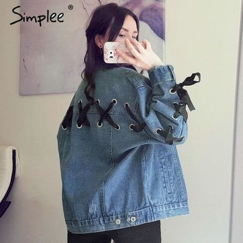 Simplee Lace up denim jacket coat women 2017 autumn winter Vintage button basic jacket Loose cross pocket jean jacket outerwear
