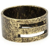 LUV AJ Antique Gold Short Cut Out Ring, Size 6