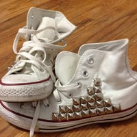 Silver Studded White Converse Hi-Top Chucks