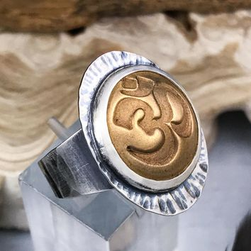 Sterling Silver and Bronze Om Ring