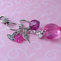 Pink Heart Purse Clip On Charms PC989