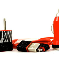 Red iPhone Charger set with Black and zebra print trim