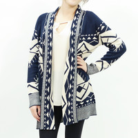 Knitted open tribal print long cardigan