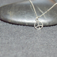 tiny peace sign necklace sterling silver, dainty necklace, petite charm necklace, hippie jewelry, boho necklace, peace symbol,minimalist