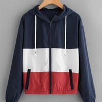 Trendy color block Retro windbreaker sweater