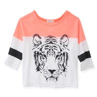 Aeropostale Womens 3/4 Sleeve Sporty Tiger Sweatshirt - Neon,