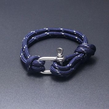 19 Colors Fashion Jewelry Beach Sport Camping Parachute cord Survival Bracelet Men with Stainless Steel Shackle Buckle