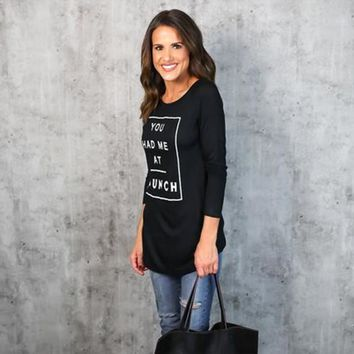 Summer Spring Shirt New Style Women You had me at brunch Tops Sexy Black Long Sleeve Letter Printed T Shirt#LSN