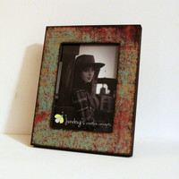 4x6 5x7 Turquoise Red Oxidized Photo Frame READY TO SHIP