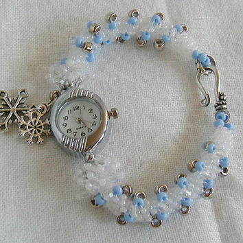 Spakling Winter Snowflake Charm Beadwoven Bracelet Watch~Winter Watch~ Bracelet Watch~Beadwoven Watch~ Snowflake Charm Watch~ Christmas