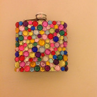 Colorful Rhinestone 6oz Flask