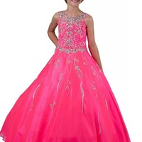 Y&C Girls' Beading Party Ball Gown Pageant Dresses
