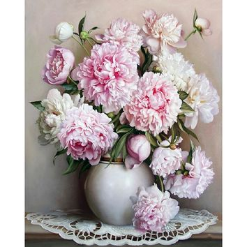Frameless Europe Pink White Flower DIY Painting By Numbers Unique Gift Acrylic Paint By Numbers Hand Painted Wall Art Picture