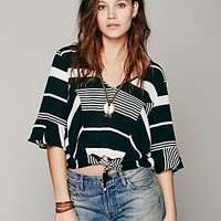 Free People Stripe Crop Tie Front