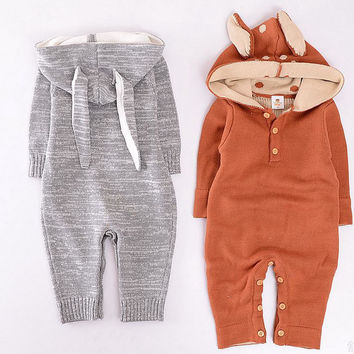KIKIKIDS Baby Boys& Girls Rabbit & Deer Pattern BodySuit with Long Sleeve & Hat, Kids Long Sleeve Jumpsuit,  price only for 1pcs