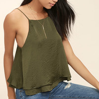 Listen Carefully Olive Green Satin Crop Top
