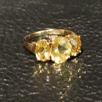 Heliodor Golden Beryl Ring Vintage Engagement Wedding 14K Gold