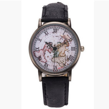 Retro World Map Quartz creative watch for Men And Women