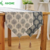 AIHOME New Modern Style Linen Cotton Table Runner Irregular Decoration Plant Printed Cloth Table Runners With Tassel