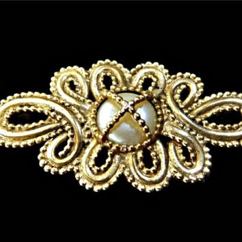 Large Caged Button Pearl Brooch Gold Tone Metal Bead Setting