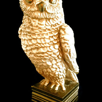 "Vintage Majestic Owl Sculpture, Owl 12"" Tall Figurine Austin 1964 Bird of Prey Raptor"