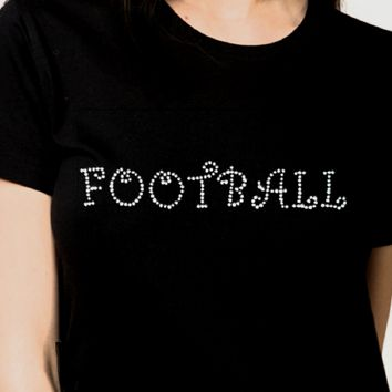 Bling T-Shirts, Women. Football , Rhinestones, Night, Sparkle,trending, fashion, ladies.