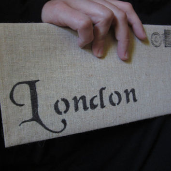 London Cotton Canvas Envelope Bag  city bag