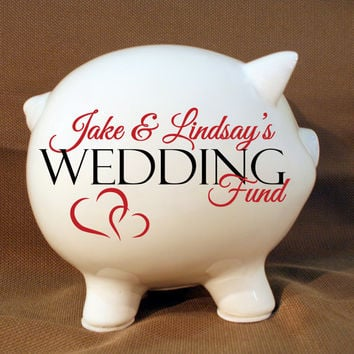 Wedding fund personalized piggy bank with Vinyl Decal, Engagement Party Gift, Fund Piggy bank, Wedding Bank