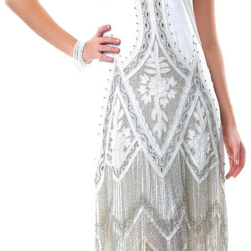 Cream & Platinum Embroidered Reproduction 1920's Flapper Dress - S to 2XL - Unique Vintage - Cocktail, Pinup, Holiday & Prom Dresses.