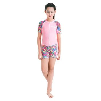 Summer Cooling Kids Swimming Surfing Diving One-piece Wear Boys Girls Water Sports Wetsuits Rash Guards