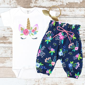 Unicorn Face Navy Floral HWP  Newborn Outfit