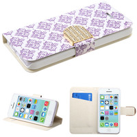 Book-Style Diamante Belt Wallet Case for iPhone 5C - Flowers Fabric