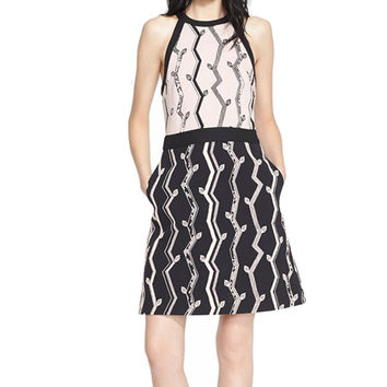 3.1 Phillip Lim Pink-Black Cutaway A-Line Tank Dress