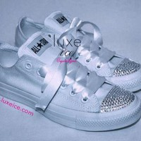 DCCKGQ8 converse all star chucks adult sizes all white w crystal clear swarovski elements
