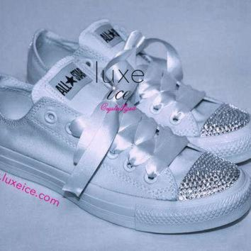 1d11b59e507e DCCK1IN converse all star chucks adult sizes all white w crystal clear  swarovski elements