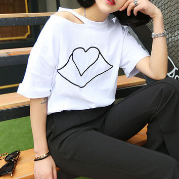 Womens Casual Embroidered Lips T-Shirt Summer Gift 55