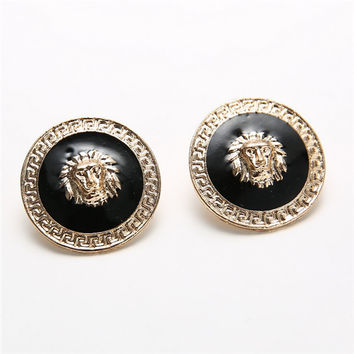 Alloy Oil Drop Lion Head Ear Stud Earrings