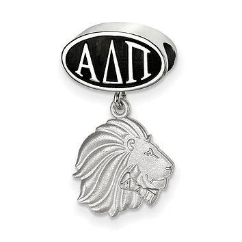 Sterling Silver Alpha Delta Pi With Lion Dangle Bead Charm