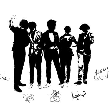 One Direction Silhouette Pop Art Drawing - Print