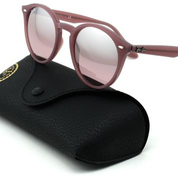 Ray-Ban RB2180 Unisex Round Sunglasses (Opal Antique Pink Frame/ Pink Mirror Sil