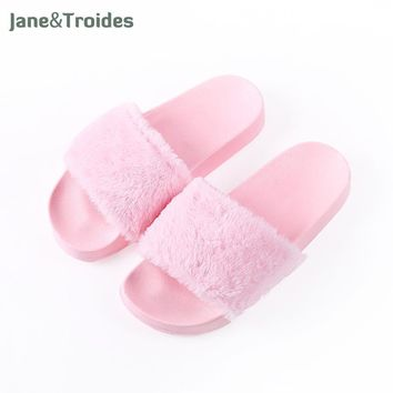 Spring Autumn Fluffy Women Slippers Open Toe Thicken Antiskid Solid Color Flip Flops P