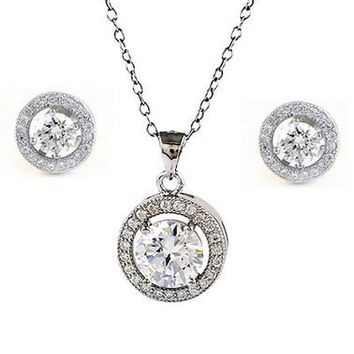 Hope Cubic Zirconia & White Gold Halo Necklace & Earrings